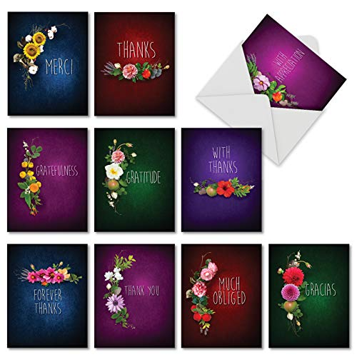 (Many Thanks: 10 Assorted Blank Thank You Notecards Describing Elegant Floral Arrangements Surrounding Appreciation, with Envelopes. AM6842TYB-B1x10 )