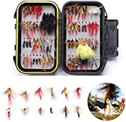 Flies Fishing-72PCS Handmade Fly Fishing Lures-Dry and Wet Flys Kit,Streamer,Nymph with Waterproof Fly Box for