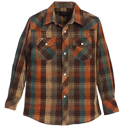 (Gioberti Big Boys Plaid Long Sleeve Pearl Snaps Shirt, Khaki/Brown / Teal/Orange, Size 8)