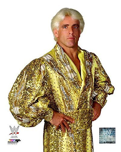 Ric Flair - WWE 8x10 Photo wearing yellow robe - Ric Flair Robe