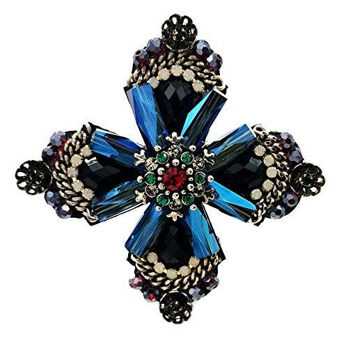 DREAMLANDSALES Cross Style Dark Blue Rhinestone Crystal Four Petal Flower Brooches (Four Petal Flower)