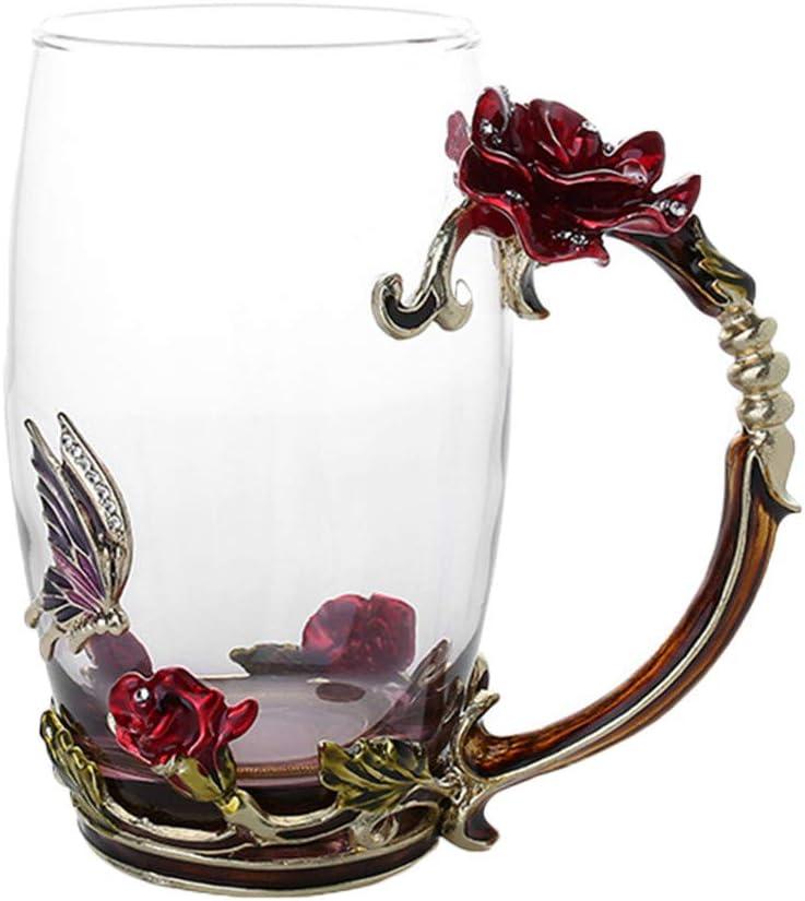 QWERGLL Botella de Agua Taza De Té De Café Esmaltado Taza De Cristal De Mariposa 3D Rose Regalo De Boda Elegante Taza Tallada con Cuchara
