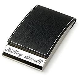 Personalized Black Leather Magnetic Business Card Case & Credit Card Holder Engraved Free