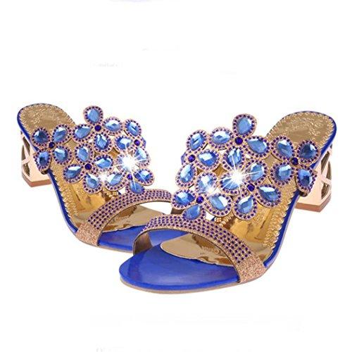 Blu Cm Estivi S 6 Uomogo® Sandali Women Vintage Beach Slipper In Strass Frozen 70 Donna Sandals 4 HwRqw6CxZ
