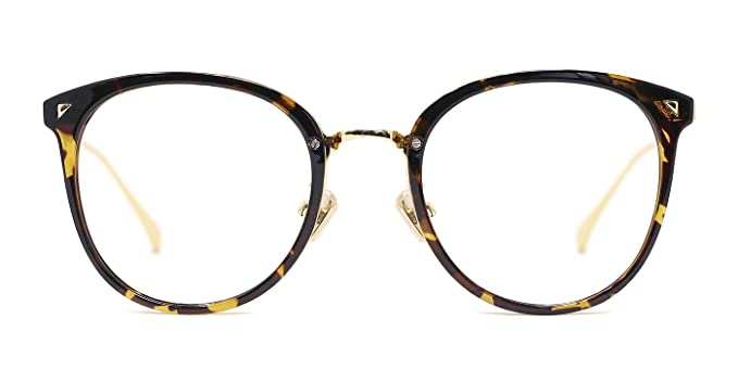 Amazon.com: TIJN Women TR90 Retro Metal Round Glasses Frame Optical ...