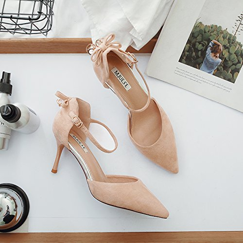 de Pajarita 39 Color cm sandalias alto 7 zapatos tacón Baotou Xue Qiqi beige xXa1xf