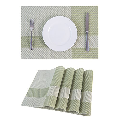 Set of 4 Placemats,Placemats for Dining Table,Heat-resistant Placemats, Stain Resistant Washable PVC Table Mats,Kitchen Table mats.(4, (Dining Mat)