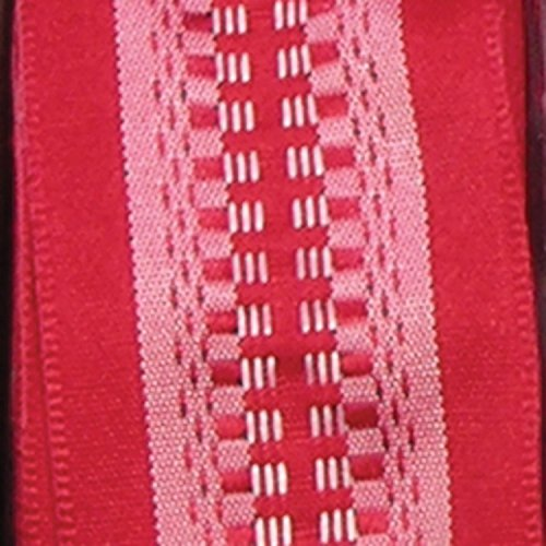 Red Taffeta with White Woven Print Wired Craft Ribbon 1.5