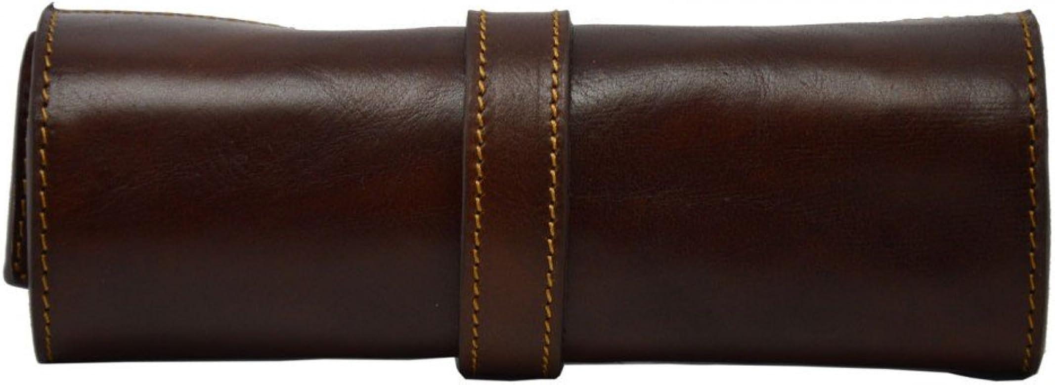 Estuche Para Bolígrafos En Piel Verdadera Color Marrón - Peleteria Echa En Italia - Accesorios: Amazon.es: Zapatos y complementos