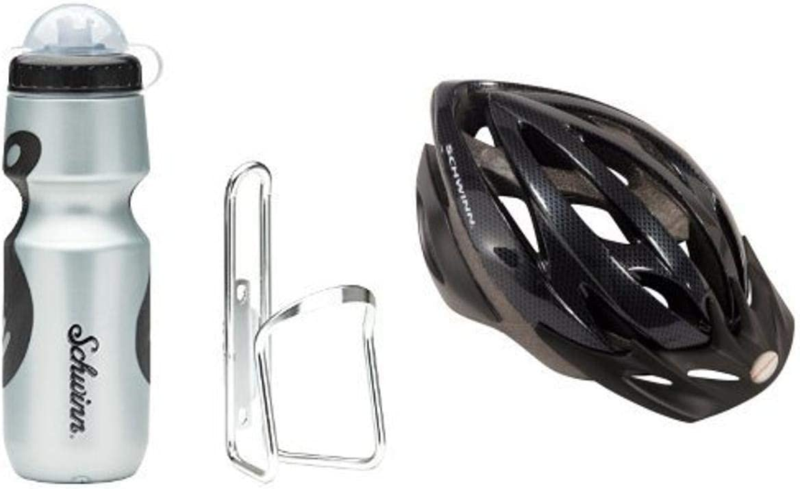 Schwinn Bicycle Water Bottle & Cage (Colors May Vary) and Schwinn Thrasher Adult Micro Bicycle black/grey Helmet (Adult) Bundle