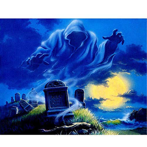 Move on 5D DIY Diamond Painting by Number Kits Spooky Halloween Pumpkin Grave (30cm x 25cm) Q1365 -