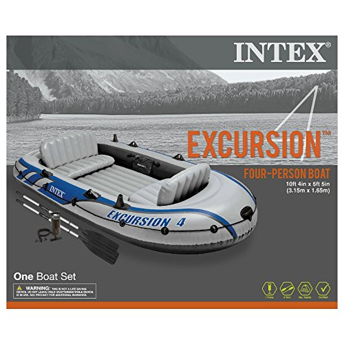 Intex excursion 4 4 person inflatable boat set with for 4 person fishing boat