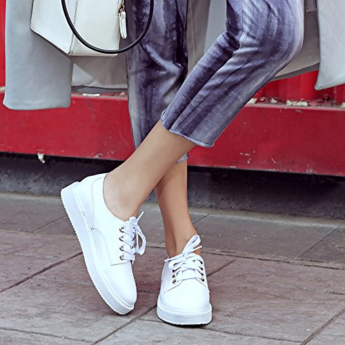 Muffin Loafers White Lace Lug Shoes MINIVOG Causual Women Flat Sole Thick wc8I86nOq4