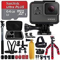 "GoPro HERO5 Black Camera + Sandisk 64GB Micro SD Memory Card + Hard Case + Head Mount + Chest Mount + 12"" Flexible Tripod + Extendable Selfie Stick / Monopod + Bike Mount + Floating Bobber + More"