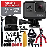"GoPro HERO5 Black Camera + Sandisk 64GB Micro SD Memory Card + Hard Case + Head Mount + Chest Mount + 12"" Flexible Tripod + Extendable Selfie Stick / Monopod + Bike Mount + Floating Bobber + More"