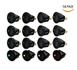 Bestsupplier 16 PCS 12V 20A Amps Car Truck Rocker Round Toggle LED Switch On-Off Control, Blue, Green, Yellow, Red