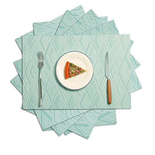 Placemats set of 6,Homcomoda Vinyl Place Mats for Dining Table Washable Heat Resistant Table Mats Set of 6(Blue Diamond)