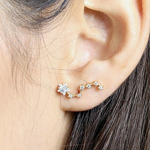 Constellation Earrings Ear Crawler Earrings Zodiac Jewelry Star Ear Climber virgo libra gift for women - ELD-Z (Industrial Crawler)