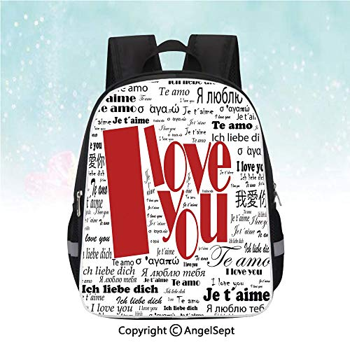 Schoolbag for Kids,Newspaper Stylized International Love Words Contemporary Happy Mothers Day Decorative,13