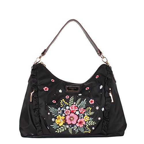 Nylon Handbag With Floral Embroidery, Ruffle and Leather Trimmings [Black]