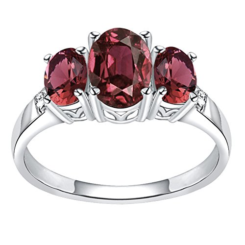 925 Sterling Silver Oval Shaped Simulated Ruby & Diamond Ring for Women and Girls, Three Stone Ring, July Birthstone, Perfect for Mother Day, Birthday, Free Gift Box (2.64 Cttw, 8x6 - Mens Ruby Simulated Sterling Silver