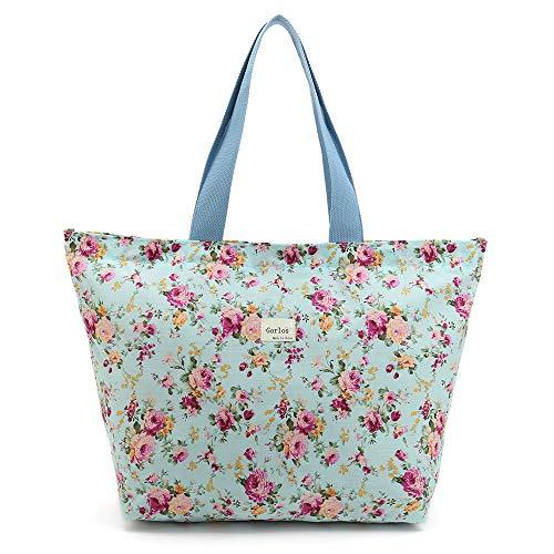 Handbag Women Girls Bag - Tote Bag Shopping Bag Shoulder Handbag for Women,Coin Purse Cosmetic Bags Makeup Bag,School Backpack Travel Bag College Bags for Teen Girls Student Women (E-Tote Bag-Floral-Green)