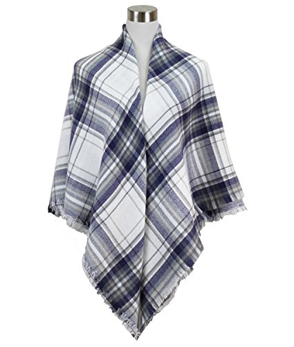 Classic Plaid Check Pattern Blanket Scarf (Super Soft Plaid Navy)