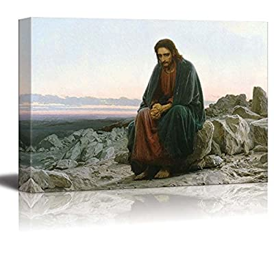 Christ in The Desert by Ivan Nikolaevich Kramskoi - Canvas Print Wall Art Famous Painting Reproduction - 24