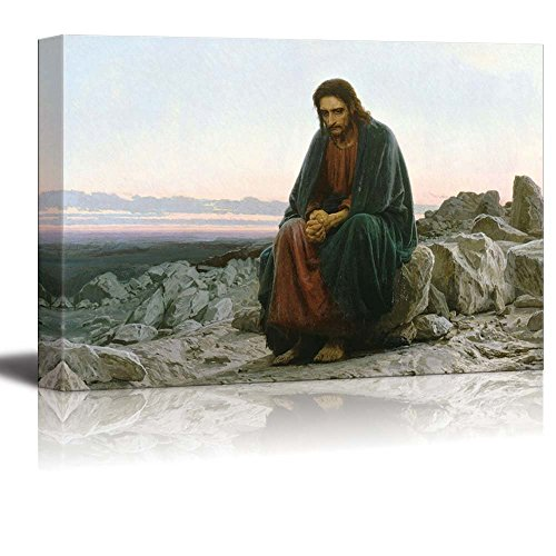 wall26 - Christ in The Desert by Ivan Nikolaevich Kramskoi - Canvas Print Wall Art Famous Painting Reproduction - 24