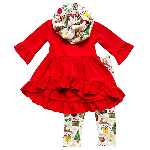 So Sydney Toddler Girls 3 Pc Hi Lo Christmas Holiday Ruffle Tunic Outfit, Scarf (S (3T), Santa & Gifts)