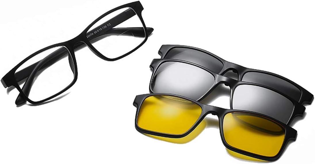 HAOXUAN Polarizado Gafas de Lectura con Tres polarizadores Desmontables, diseño de Clip magnético, Gafas de Sol Doble Enfoque de Alta definición, 1,00 dioptrías a 3,00,Negro,+ 2.50