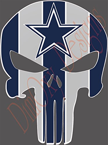 Cowboys (Dallas) Punisher sport fan sticker Full Color Decals. Outdoor rated for up to 7 years! 9