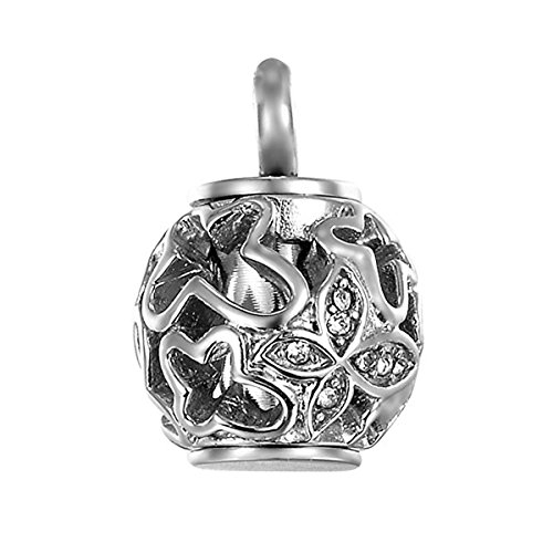 (K COOL Cremation Keychain Ring Hollow Crystal Butterfly URN Keepsake ash Holder Cylinder Engraved Always in My Heart. (Silver Pendant))
