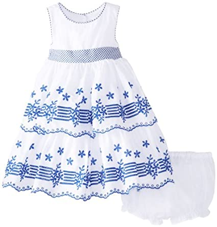 d493ce71072 Laura Ashley London Baby-Girls Infant and Blue Embroidered Tiered Dress