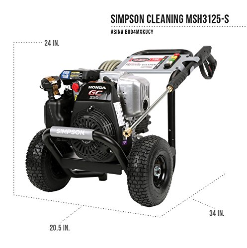 SIMPSON Cleaning MSH3125-S 3100 PSI at 2.5 GPM Gas Pressure Washer Powered by HONDA with OEM Technologies Axial Cam Pump by Simpson Cleaning (Image #1)