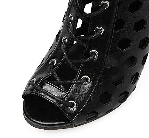 Heel Black Ladies High Rome Black Cross Toe Sexy Party Dress Peep Shoes Openwork Sandals Nightclub ZPL Women's Straps Stiletto xU5qvCnYw