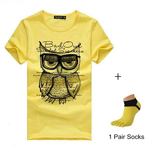 Ularmo Men Boy Summer Cotton Tees Shirt Short Sleeve Star Printed T-Shirt (XXS, Yellow)