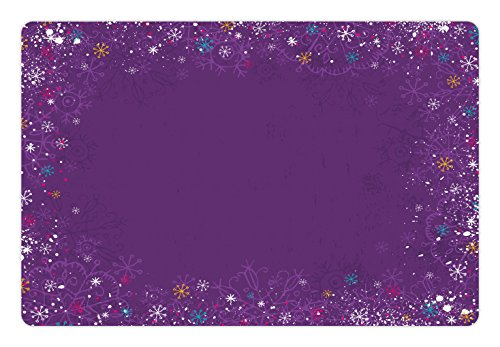 Lunarable Purple Pet Mat for Food and Water, Christmas Time Snowflakes Celebration Noel Xmas Santa Yule Tinsel Traditional, Rectangle Non-Slip Rubber Mat for Dogs and Cats, Purple ()