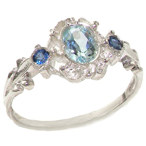 Large Aquamarine Ring (925 Sterling Silver Natural Aquamarine and Sapphire Womens Trilogy Ring - Sizes 4 to 12 Available)