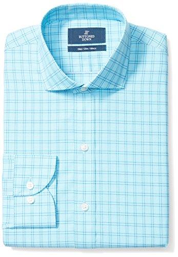 BUTTONED DOWN Men's Slim Fit Cutaway-Collar Pattern Non-Iron Dress Shirt, Aqua Plaid, 17.5