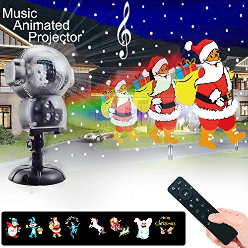 (UPODA Christmas LED Snowfall Halloween Waterproof with Remote Control Timer and Music Player Anime Snow Light Projector for Outdoor Wedding Xmas Holiday Party)