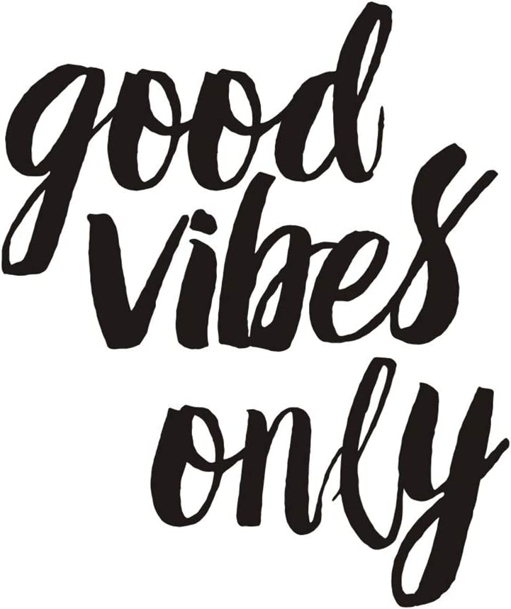Motivational Quote Good Vibes Only Wall Decal, Inspirational Saying Positive Attitude Vinyl Wall Sticker for Mirror Office Living Room Home Wall Decorations,Black
