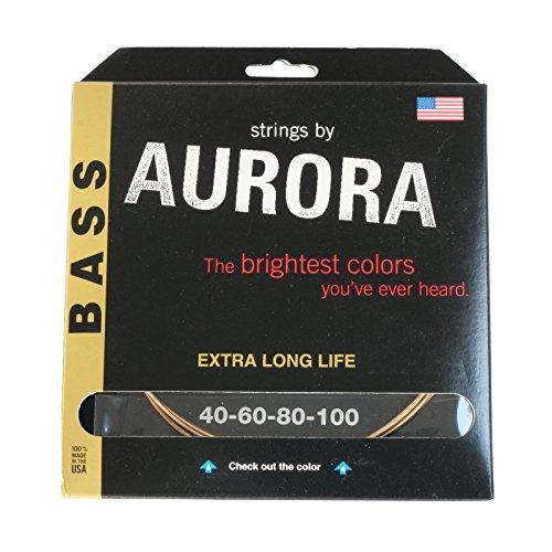 Aurora AURGLDB40-100 Premium Coloured Bass Guitar Strings, Gold, 40-100