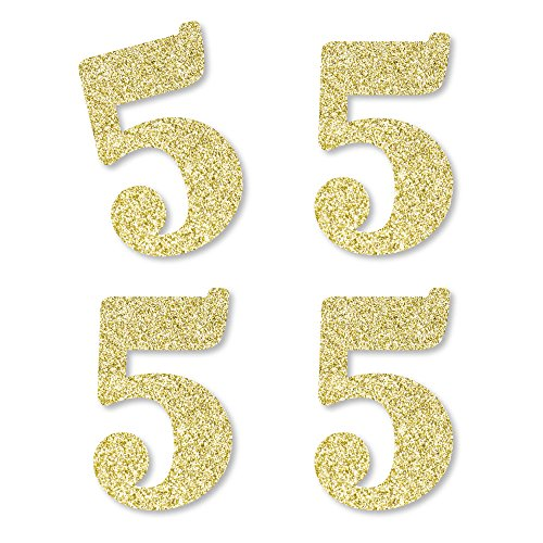 Gold Glitter 5 - No-Mess Real Gold Glitter Cut-Out Numbers - 5th Birthday Party Confetti - Set of 24