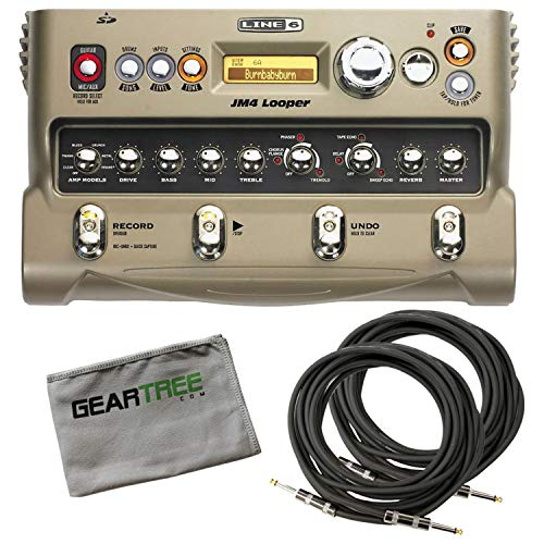 Line 6 JM4 Looper Stompbox Modeler Bundle w/ 2 Cables and Cloth