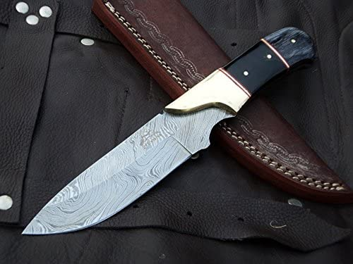 DKC Knives 9 7 18 Sale DKC-714 Black Widow Damascus Steel Hunting Handmade Knife Fixed Blade 8.5 oz 9 Long 4 Blade