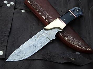 DKC Knives 9 7 18 Sale DKC-714 Black Widow Damascus Steel Hunting Handmade Knife Fixed Blade 8.5 oz 9 Long 4 Blade