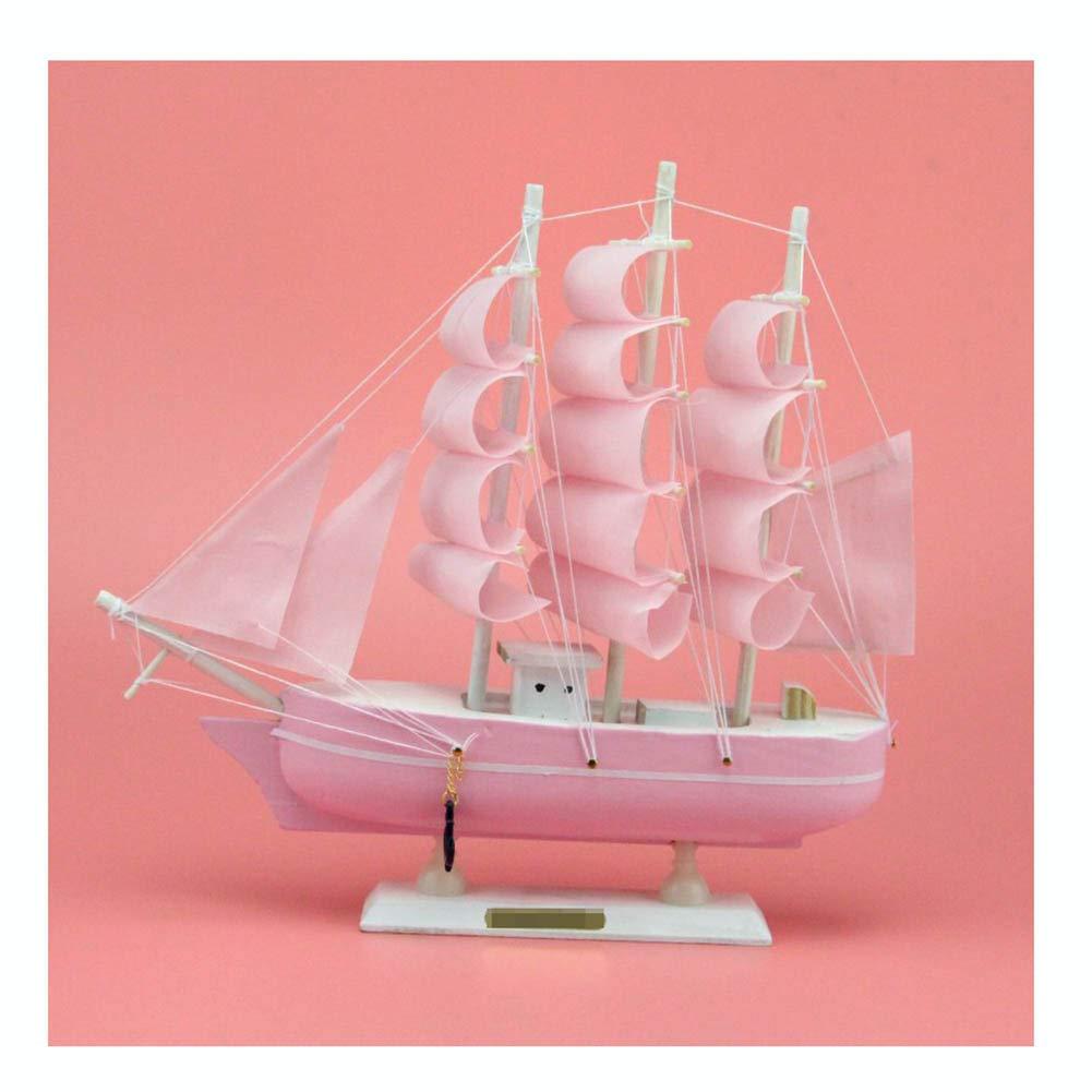 木製帆船木製ヨット家の装飾玩具装飾地中海アセンブリモデルキット家の装飾クラフト,Pink,(L*W*H)20*20*5.5cm B07T2R5MFZ Pink (L*W*H)20*20*5.5cm