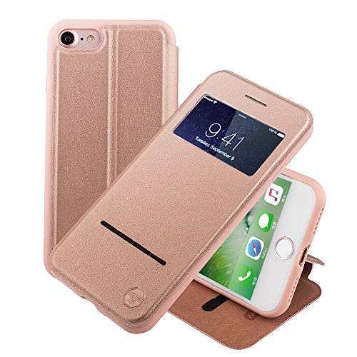Nouske Swipe Case for iPhone 7iPhone 8 with Stand/Window View/Magnetic Closing/TPU Bumper/Flip Full Cover Rose Gold