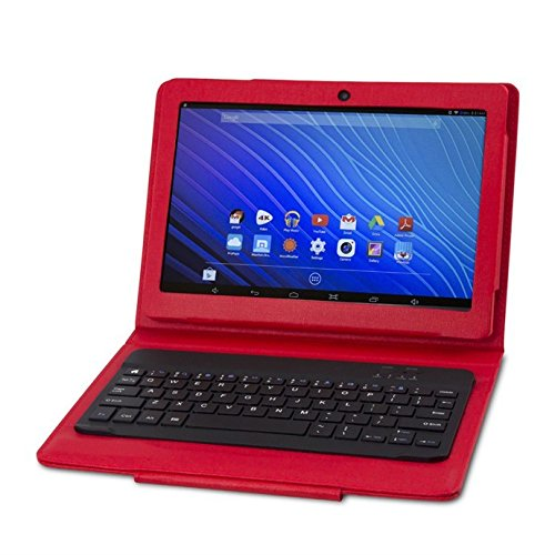 """NuVision 10.1"""" 2-in-1 High Definition Red Tablet with Keyboard and Case"""
